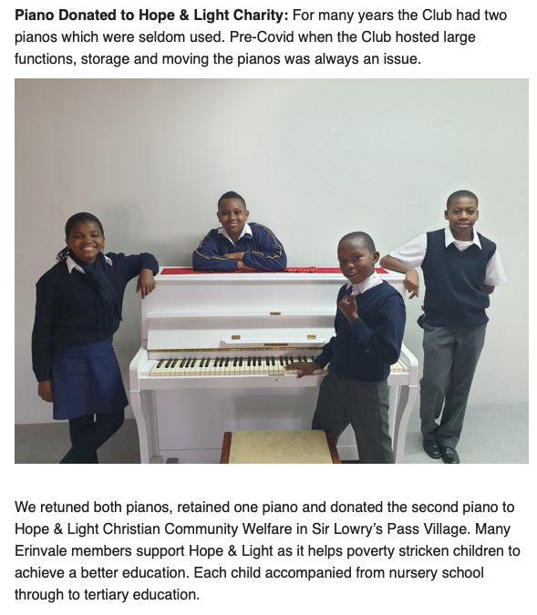 Danke ERINVALE Golf Club für das tolle Piano …